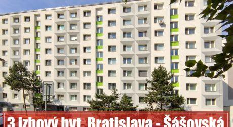 3 izbový byt v PETRŽALKE na ŠÁŠOVSKEJ - najlepšia dispozícia i lokalita