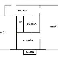 2 izbový byt, Košice-Sever, 55 m², Pôvodný stav