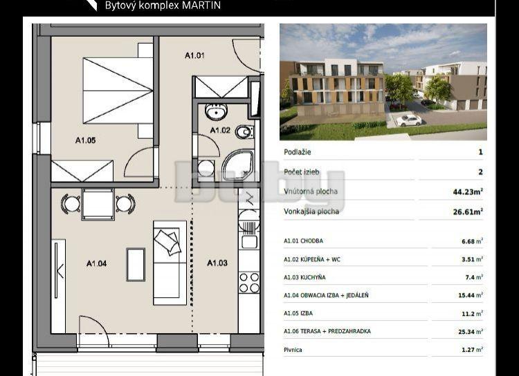 Byty Ruppeldtova: Na predaj 2 izbový byt v novostavbe s terasou a predzáhradkou 27 m2 , Martin - širšie centrum