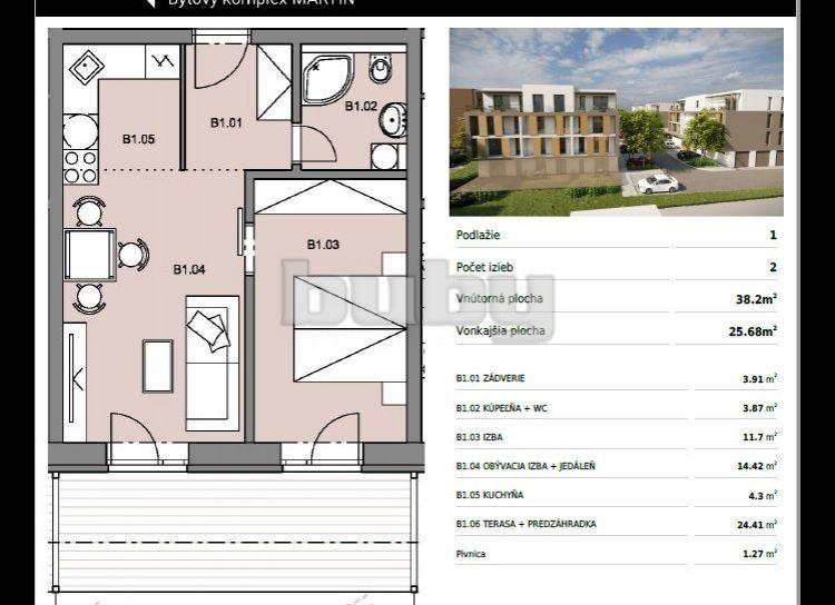 Byty Ruppeldtova: Na predaj 2 izbový byt B1 v novostavbe s terasou a predzáhradkou 26 m2 , Martin - širšie centrum