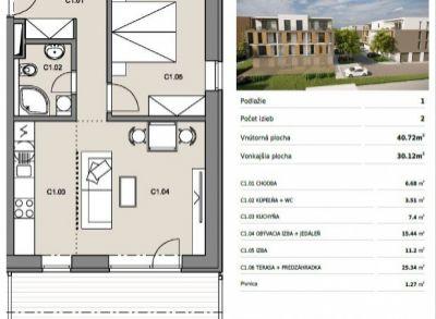 Byty Ruppeldtova: Na predaj 2 izbový byt C1 v novostavbe s terasou a predzáhradkou 27 m2 , Martin - širšie centrum