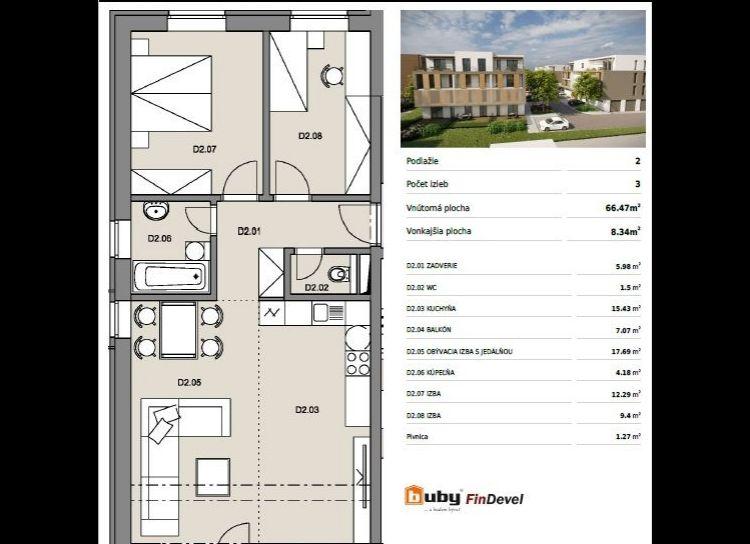 Byty Ruppeldtova: Na predaj nový 3 izbový byt D2 v novostavbe, Martin - širšie centrum