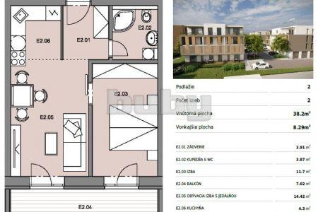 Byty Ruppeldtova: Na predaj nový 2 izbový byt E2 v novostavbe, Martin - širšie centrum