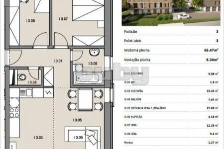 Byty Ruppeldtova: Na predaj 3 izbový byt I3 s balkónom, v novostavbe, Martin - širšie centrum