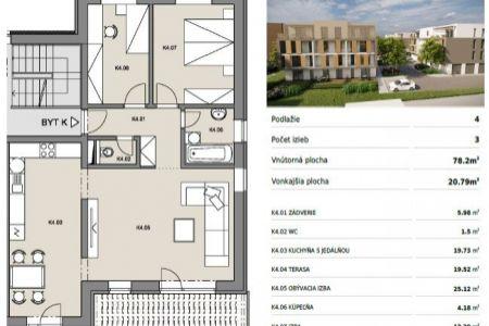 Byty Ruppeldtova: Na predaj luxusný 3 izbový byt K4 s terasou 20m2, v novostavbe, Martin - širšie centrum