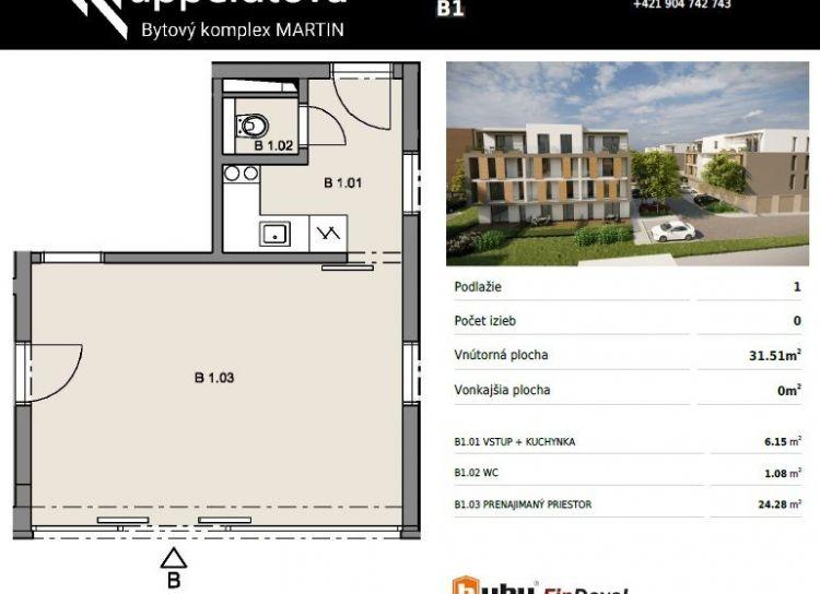 Byty Ruppeldtova: Na predaj nebytový/obchodný priestor B1 v novostavbe, Martin - širšie centrum