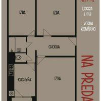 3 izbový byt, Komárno, 78 m², Pôvodný stav