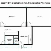 2 izbový byt, Prievidza, 64 m², Čiastočná rekonštrukcia
