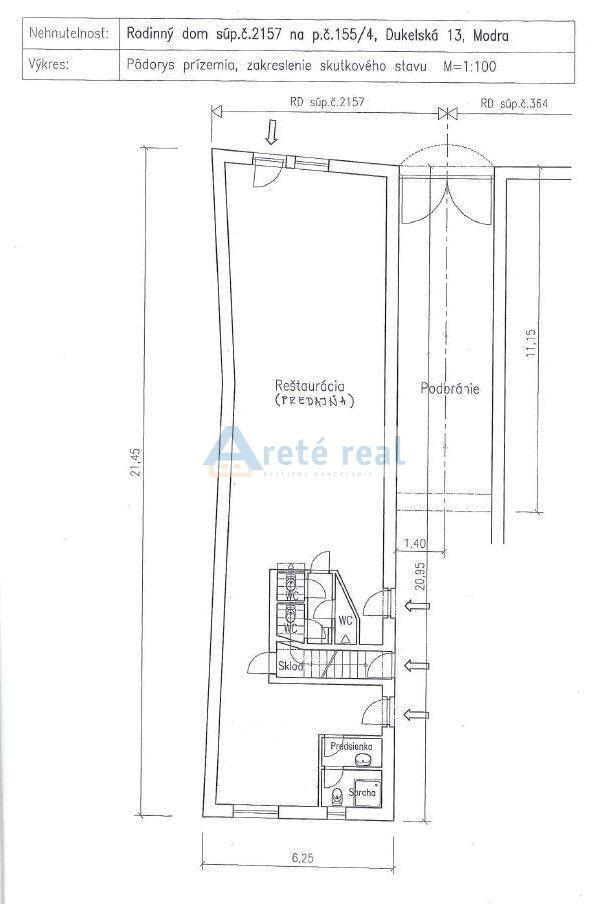 Areté real, Predaj obchodného priestoru so štýlovým 4-izbovým bytom v centre mesta Modra