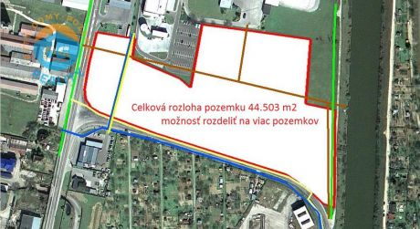 Na predaj lukratívny pozemok v priemyselnej zóne, 44.505 m2, Nové Mesto nad Váhom.