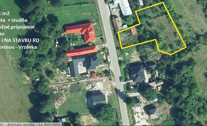 Pozemok 1721 m2 určený pre stavbu RD, Bzince p.J.-Vrzávka.