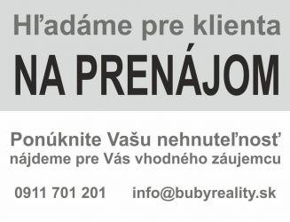 Hľadáme na prenájom 1 izb. byt v  Banskej Bystrici v časti Belveder
