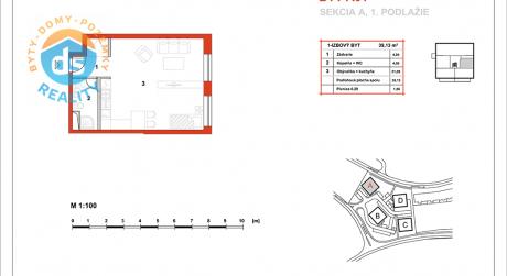 Na predaj novostavba 1-izbový byt (A01), Slnečná Terasa, Sekcia A (dokon. 06-2016), Žilina - Hájik