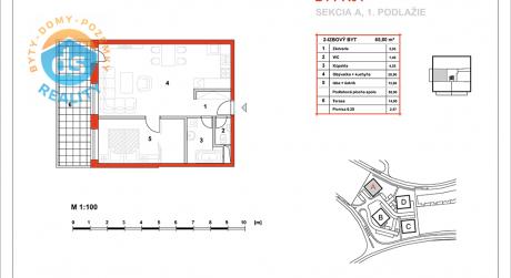 Na predaj novostavba 2-izbový byt, 50,9 m2, (A04), Slnečná Terasa, Sekcia A (dokon. 06-2016), Žilina - Hájik