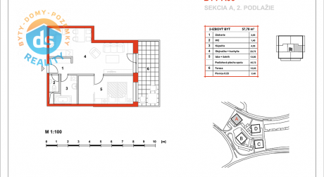 Na predaj novostavba 2-izbový byt, 45,73 m2, (A06), Slnečná Terasa, Sekcia A (dokon. 06-2016), Žilina - Hájik