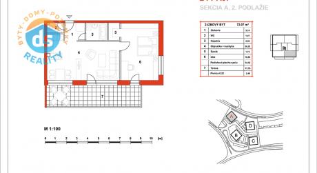 Na predaj novostavba 2-izbový byt, 54,52 m2, (A07), Slnečná Terasa, Sekcia A (dokon. 06-2016), Žilina - Hájik