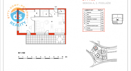 Na predaj novostavba 2-izbový byt, 54,52 m2, (A08), Slnečná Terasa, Sekcia A (dokon. 06-2016), Žilina - Hájik