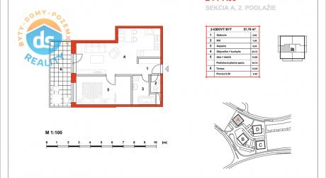 Na predaj novostavba 2-izbový byt, 45,73 m2, (A09), Slnečná Terasa, Sekcia A (dokon. 06-2016), Žilina - Hájik