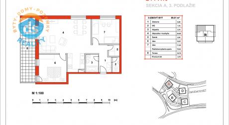 Na predaj novostavba 3-izbový byt, 72,91 m2, (A16), Slnečná Terasa, Sekcia A (dokon. 06-2016), Žilina - Hájik