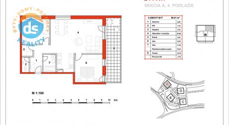 Na predaj novostavba 3-izbový byt, 72,91 m2, (A17), Slnečná Terasa, Sekcia A (dokon. 06-2016), Žilina - Hájik