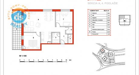 Na predaj novostavba 3-izbový byt, 72,91 m2, (A22), Slnečná Terasa, Sekcia A (dokon. 06-2016), Žilina - Hájik
