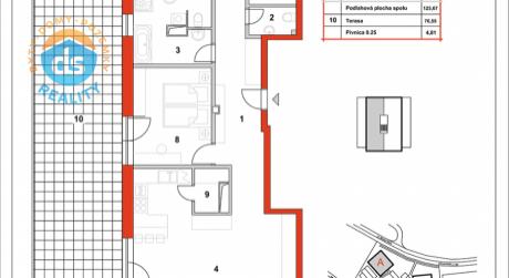 Na predaj novostavba 4-izbový byt, 125,67 m2, (A30), Slnečná Terasa, Sekcia A (dokon. 06-2016), Žilina - Hájik