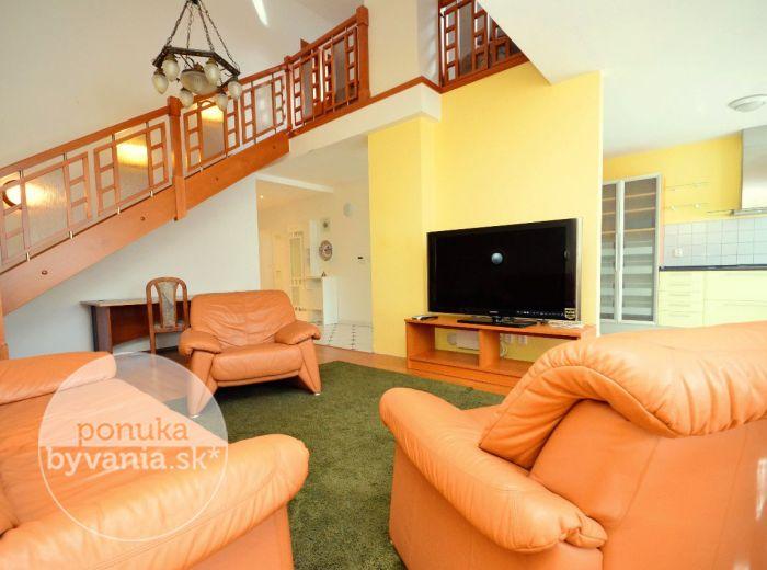 PRENAJATÉ - CESTA NA KAMZÍK, 5-i byt, 207 m2 - veľkometrážny MEZONET s rozmermi rodinného DOMU, plne ZARIADENÝ, blízko centra