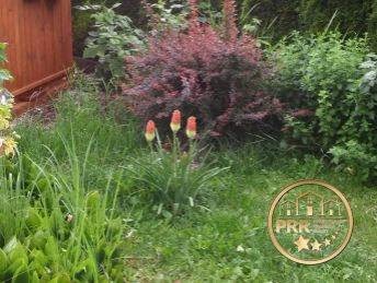Záhradka s chatkou.