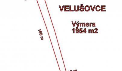 VELUŠOVCE - pozemok 1954 m2, okr. Topoľčany