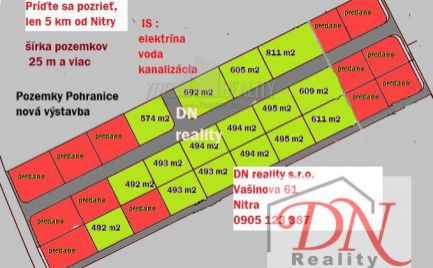 Všetky pozemky predané !Radi by ste bývali v novej výstavbe a blízko Nitry / 5 km/, tak sa príďte pozrieť na pozemky v Pohraniciach