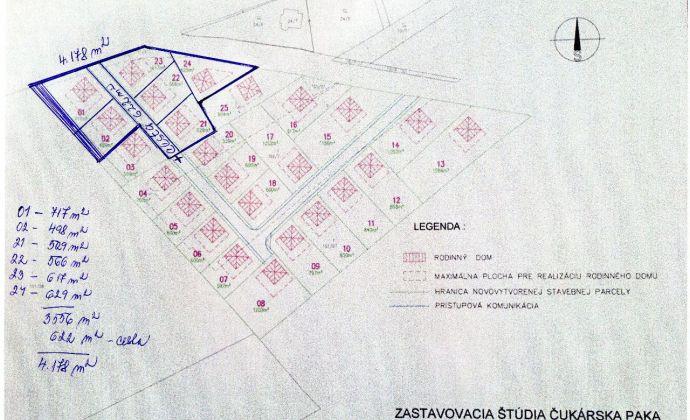 Predaj investičného pozemoku na stavbu rodinných domov - obec Veľká Paka- lokalita Čukárska Paka