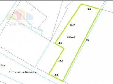 Pozemok na komerčné využitie 480m2, centrum, Nové Mesto nad Váhom