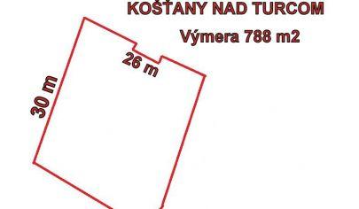 KOŠŤANY NAD TURCOM - rovinatý pozemok 788m2 .okr.Martin