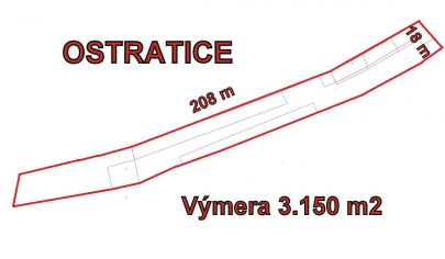 OSTRATICE  stavebný pozemok výmera 3150m2, okr. Patizánske