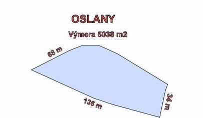 OSLANY stavebný pozemok výmera 5038 m2, okr Prievidza