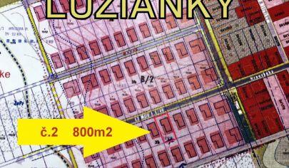 stavebný pozemok /2 LUŽIANKY 800 m2, okr. NITRA