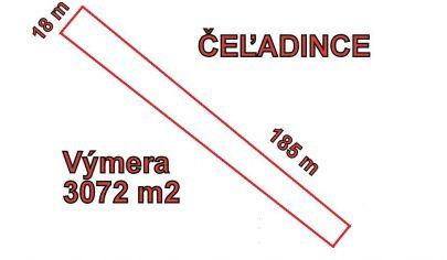 ČEĽADINCE stavebný pozemok výmera 3072 m2, okr. Topoľčany