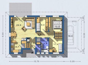 Novostavba dobre riešeného bungalovu na pozemku 600m2, za skvelú cenu 149000!PRIAMO OD DEVELOPERA!