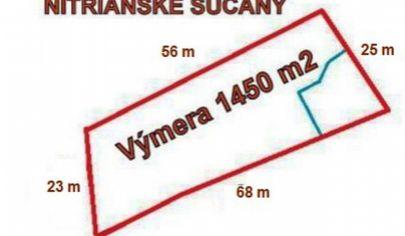 NITRIANSKE SUČANY  stavebný pozemok výmera 1450 m2  okr. Prievidza