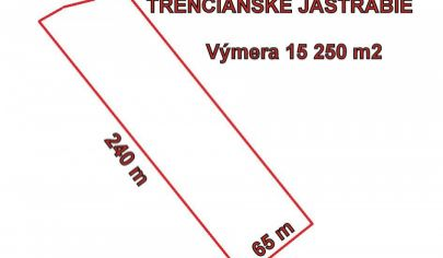 TRENČIANSKE JASTRABIE priestranný stavebný pozemok výmera 15 250 m2, okr. Trenčín