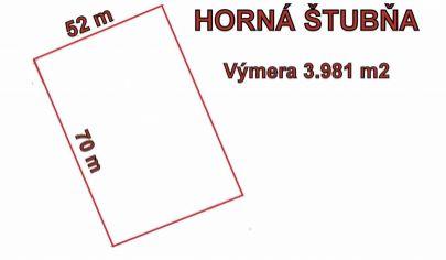 HORNÁ ŠTUBŇA pozemok s výmerou 3981 m2, okr.Turčianske Teplice.