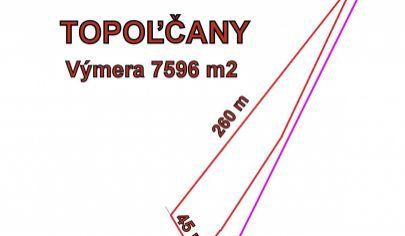 TOPOĽČANY -  pozemok s rozlohou 7596m2