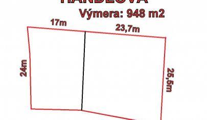 HANDLOVÁ, pozemok v centre mesta, rozloha 948 m2